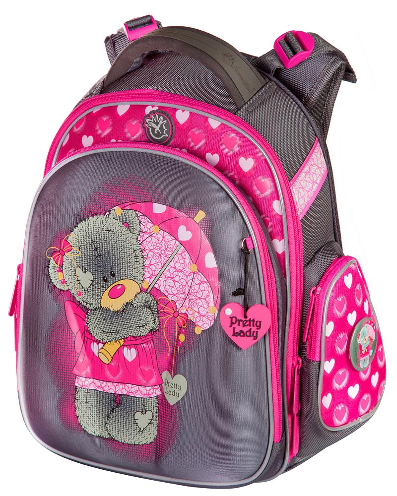 Школьные рюкзаки с ортопедической спинкой для девочек Hummingbird TK28  Мишка серо-малиновый с мешком для 58024e44523